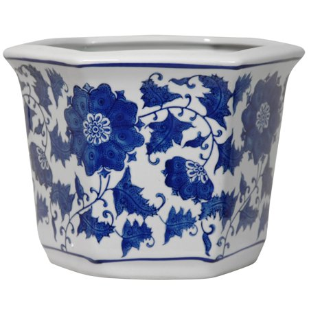 ORIENTAL FURNITURE Handmade Porcelain Blue and White Flower Pot Planter (China)
