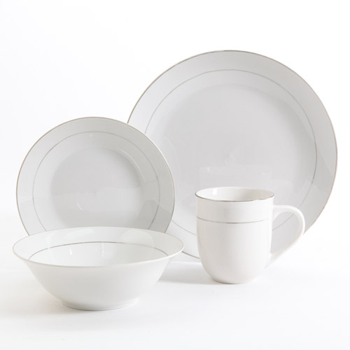 Gibson Home Channing Metal-Banded 16-Piece Dinnerware Set