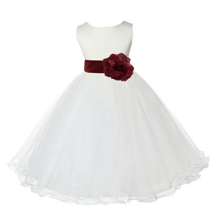 Ekidsbridal Satin Ivory Burgundy Tulle Rattail Edge Christmas Junior Bridesmaid Recital Easter Holiday Wedding Pageant Communion Princess Birthday Girls Clothing Baptism 829S size 2 Flower Girl Dress