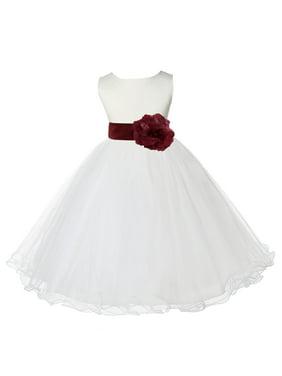 477b86058609 Product Image Ekidsbridal Ivory Satin Tulle Rattail Edge Flower Girl Dress  Bridesmaid Wedding Pageant Toddler Recital Easter Holiday
