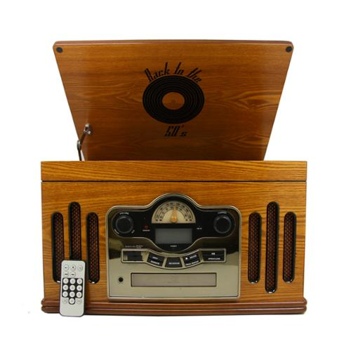 Back to the 50's Antique Wooden 3 Speed Turntable with CD Player by Back To The 50%27s