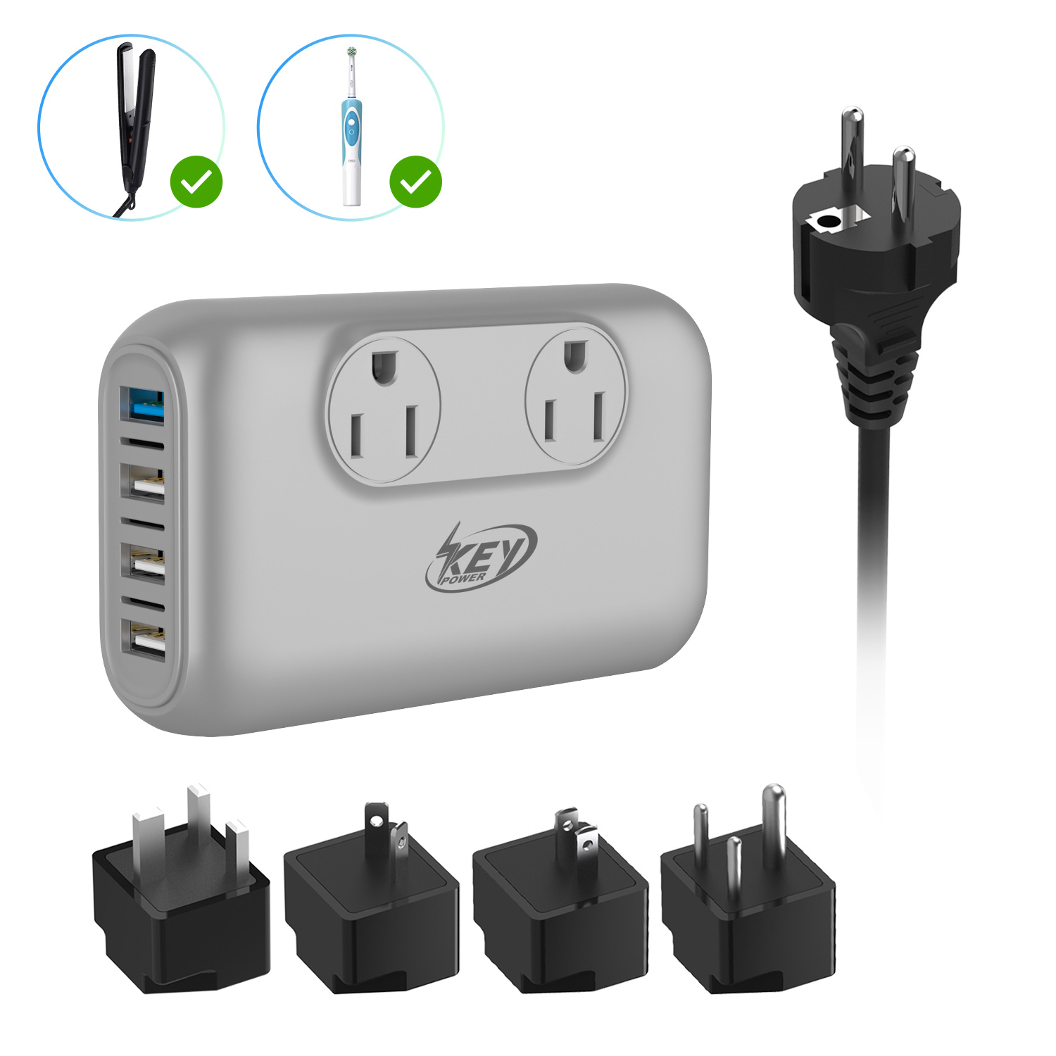 Key Power 220V to 110V Step Down Voltage Converter and International Travel Adapter, for Hair Straightener Flat Iron, Hair Curler, CPAP, Toothbrush - [Safely Use USA Electronics Overseas]