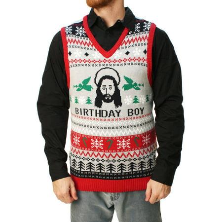 ugly christmas sweater ugly christmas sweater mens jesus birthday boy vest walmartcom