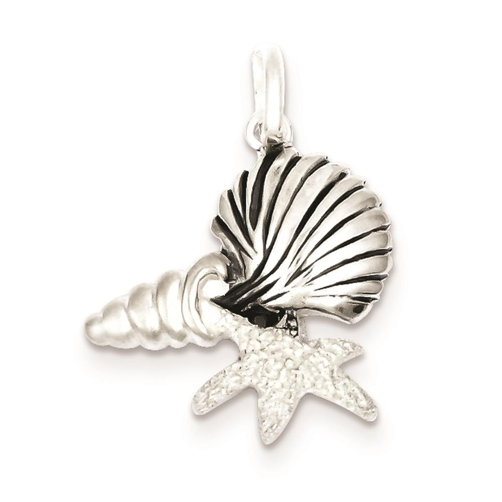 925 Sterling Silver Antiqued Polished & Satin Seashells Charm Pendant