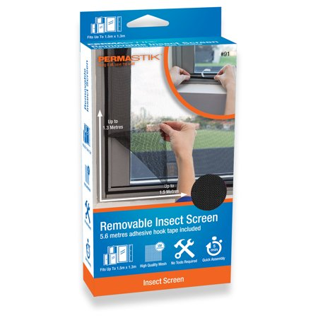 PermaStik Removable Insect Screen, Fits Windows up to 59.1 in x 51.2 in, Or cut down to suit smaller sizes, Adhesive Mounting, Easily Removable, Durable Fly Screen Mesh, DIY Installation