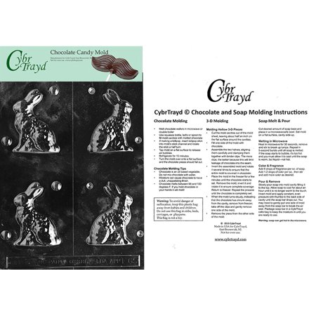 Small Sitting Bunny Chocolate Candy Mold with Exclusive Cybrtrayd Copyrighted Molding (Small Bunny Chocolate Mold)