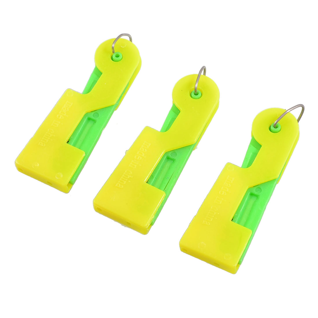 Unique Bargains Press Plastic Sewing Needle Threader Guide Green Yellow 3 Pcs