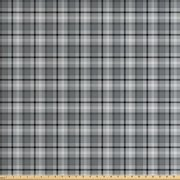Black and Grey Fabric by The Yard, Traditional Tartan Pattern Classical Timeless Scottish Quilt Design, Decorative Fabric for Upholstery and Home Accents, by Ambesonne