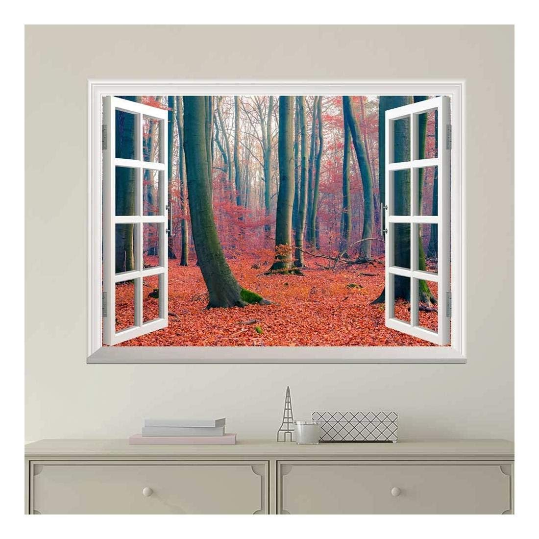 wall26 Modern White Window Looking Out Into a Forest During Fall Time - Wall Mural, Removable Sticker, Home Decor - 36x48 inches
