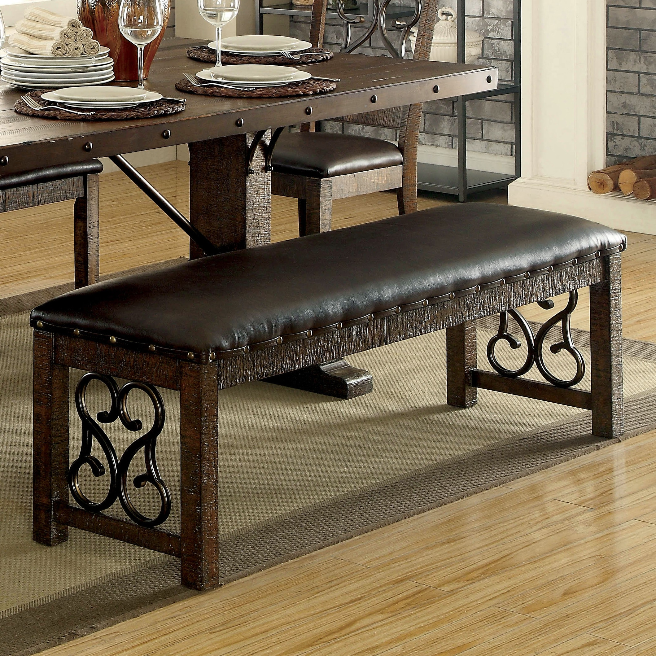 Furniture Of America Chester Traditional Scrolled Metal Leatherette Rustic  Walnut Dining Bench