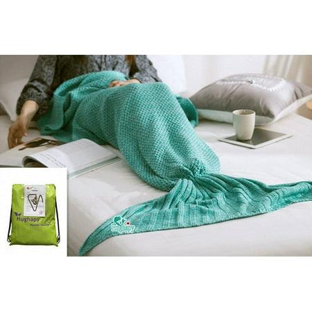 Hughapy Soft Crochet Sea Mermaid Tail Blanket for Teen/ Adult (Adult, - Crocheted Blanket