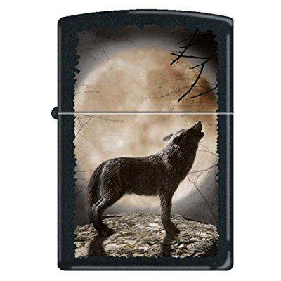zippo wolf howling at moon black matte lighter, - Zippo Wolf