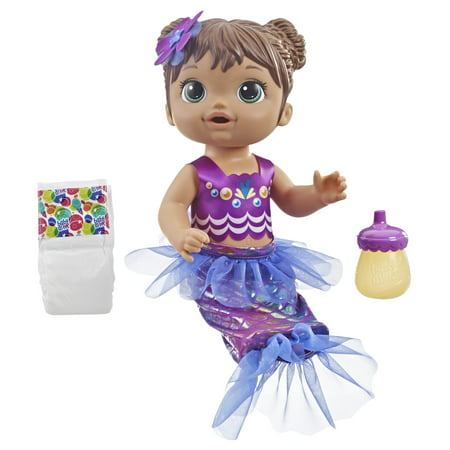Baby Alive Shimmer 'n Splash Mermaid Baby Doll (Brown - Doll Divine Mermaid
