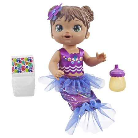 Baby Alive Shimmer 'n Splash Mermaid Baby Doll (Brown
