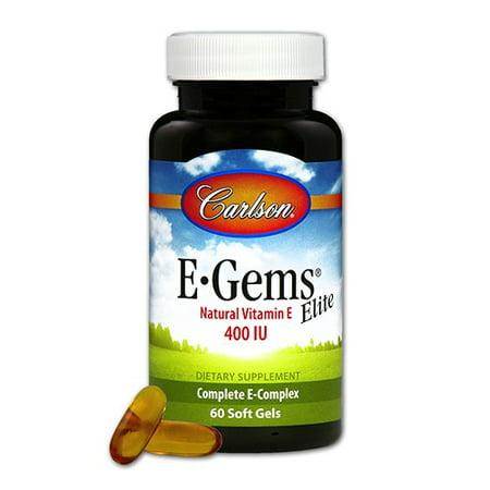 E-gems Elite Natural Vitamin - Carlson E-Gems Elite Natural Vitamin E Softgels, 60 Ct