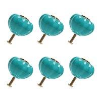 Ceramic Vintage Knobs Drawer Pumpkin Shape Pull Handle Cupboard Wardrobe Dresser Door Blue 6pcs