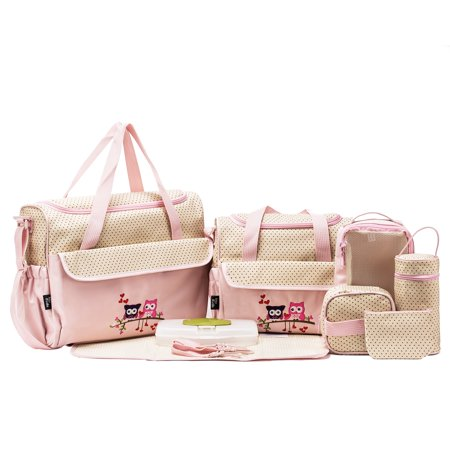 SoHo Collections, Large Capacity Tote Diaper Bag, 10 Piece Complete Set with Stroller Straps (Pink with Owls) - Owl Tote