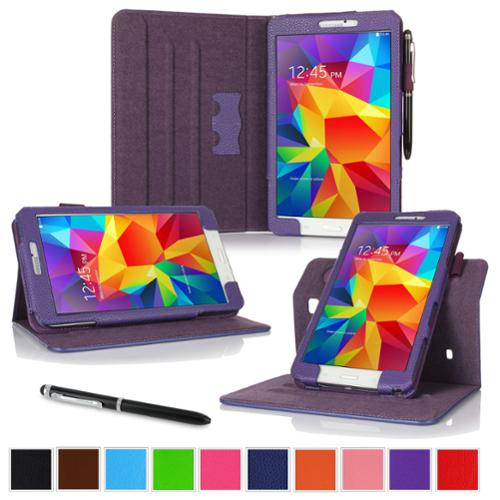 """rooCASE Samsung Galaxy Tab 4 8.0 SM-T330 Tablet Case - Dual View Multi-Angle Stand Cover with Pen Stylus for Tab4 8-Inch 8"""", Purple (Supports Auto Sleep/Wake)"""