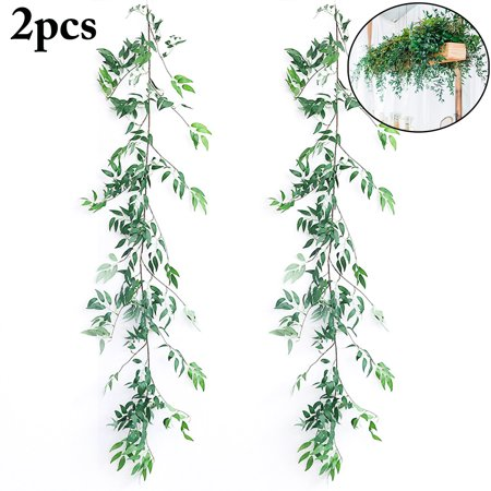 OHSAY USA 2PCS Green Artificial Plants Hanging Fake Vines Wall Decor Vines and Leaves Artificial Garland Flowers Outdoor Indoor Greenery Vine for Garden Wedding Living Room Bathroom