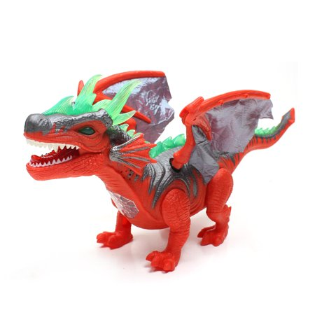 Wonderplay Dinosaur Toy Figure with Many Lights & Loud Roar Sounds, Real Movement Red