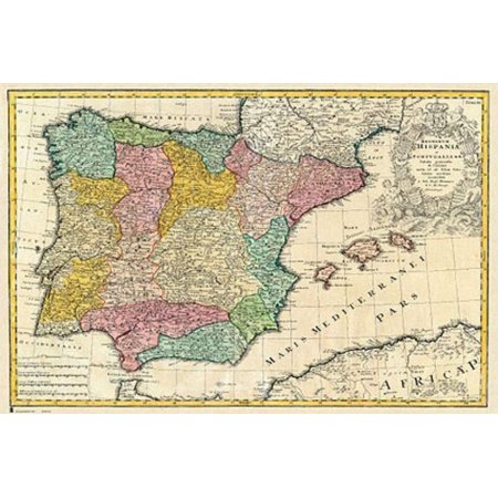 Map 24 Spain.Antique Map Of Spain Mapa Antiguo De Espana Poster Print Spanish Version Size 36 X 24