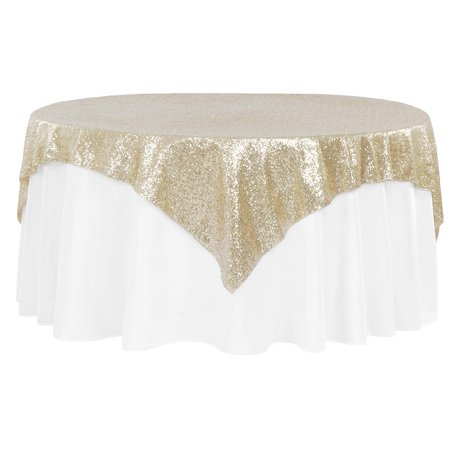 "1 Pc, Glitz Sequin Table Overlay Topper 72""X72"" Square - Champagne For Wedding Ceremonies & Receptions, Bridal Showers, Baby Showers, Quinceaneras, Anniversary Parties, Or Special Event"