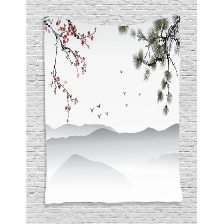 Floral Tapestry Chinese Painting Style Artwork With Tree Branches