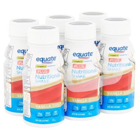 Equate Nutritional Shakes Plus, Vanilla, 8 fl oz, 6