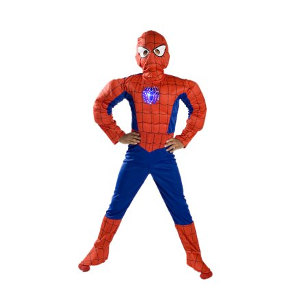 Mask For Boys (Spiderman Costume Boys Kids Light up Spider Size S M Free MASK 4 5 6 7 8 9 (4-6))