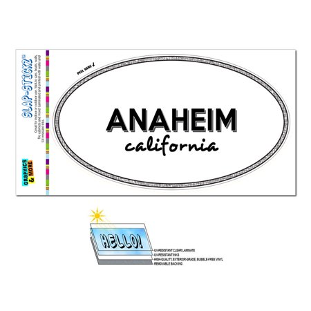 Anaheim, CA - California - Black and White - City State - Oval Laminated Sticker](Anaheim City)