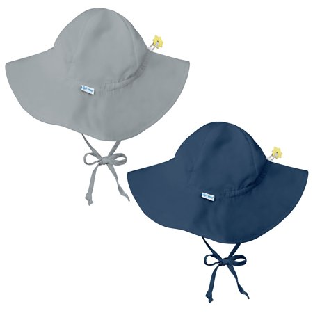 i play Baby and Toddler Brim Sun Protection Hat- Gray and Navy Blue - 2 Pack - I Hat