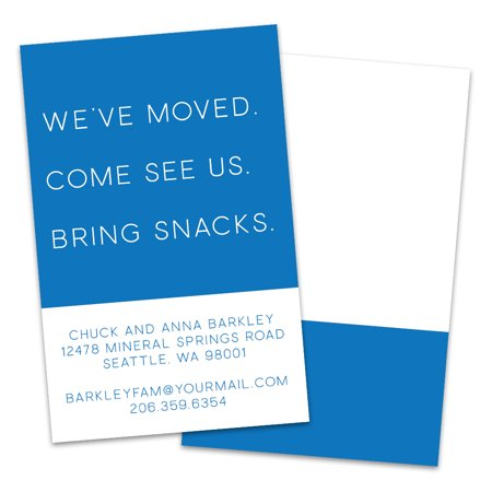 Personalized Simple Bring Snacks Moving Announcement