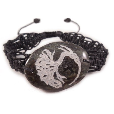 Charming Shark Womens Celtic Stone Tree Charm Bracelet Adjustable Black