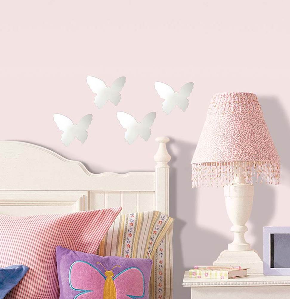 Room Mates Wall Mirrors Butterfly Wall Decal (Set of 4)