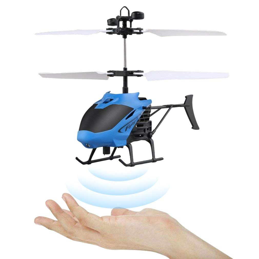 Mini RC Hand Induction Helicopter Radio Remote Control Flying Aircraft Flashing Light Toys For Kids USB Charged Airplanes Birthday Present Xmas Gift(Red)