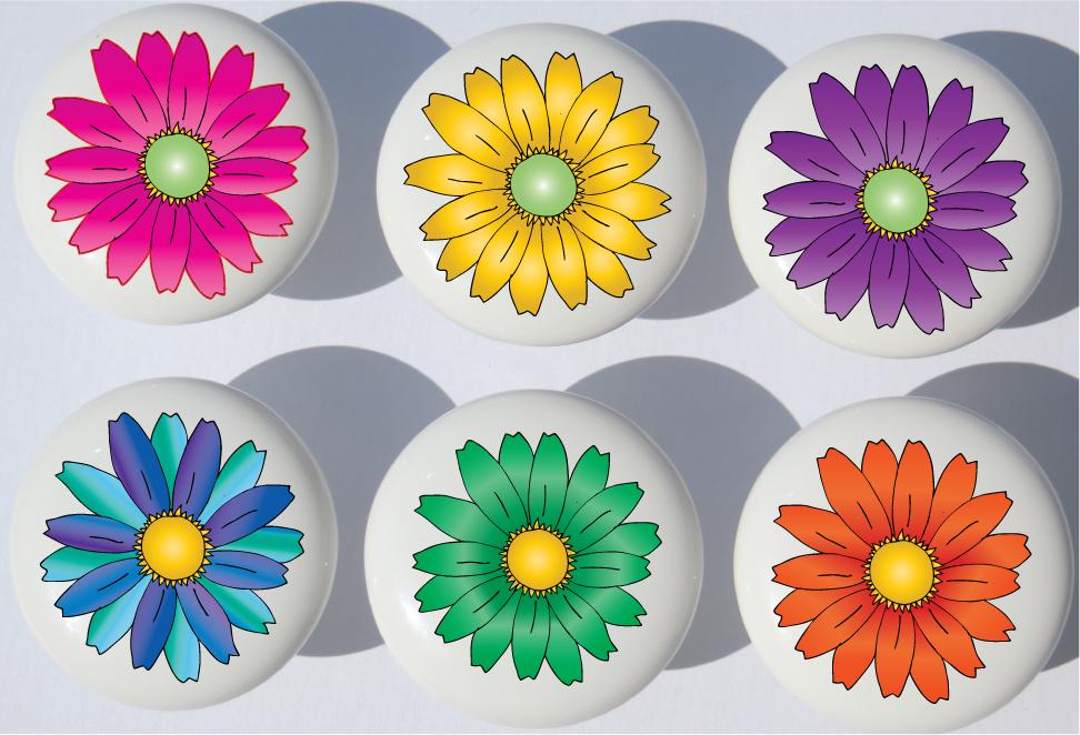 Ceramic Door Knob Cabinet Drawer Wardrobe Cupboard Daisy Pull Handle Pink