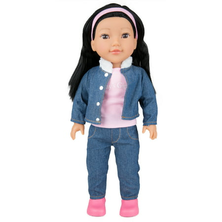 "Today's Girl Dolls by CP Toys – 18"" Leah Doll, Asian Features with Black Hair – Compatible With All 18"" Doll Accessories Including American Girl, Our Generation, and More"