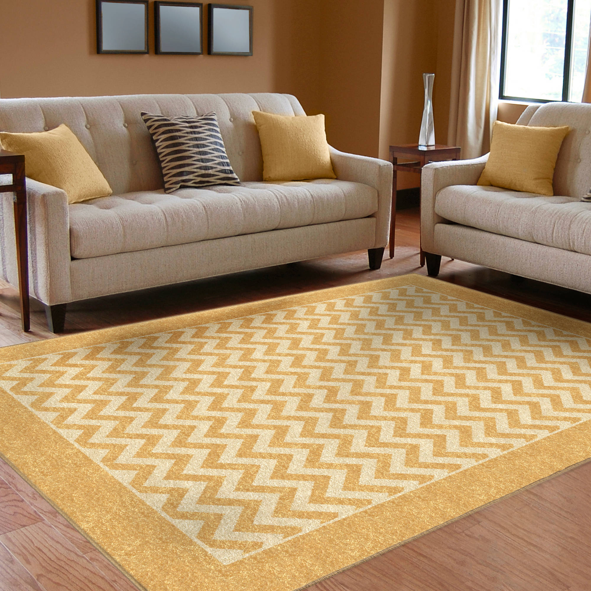 Orian Chevron Strip Woven Olefin Area Rug, Gold Available In Multiple Sizes