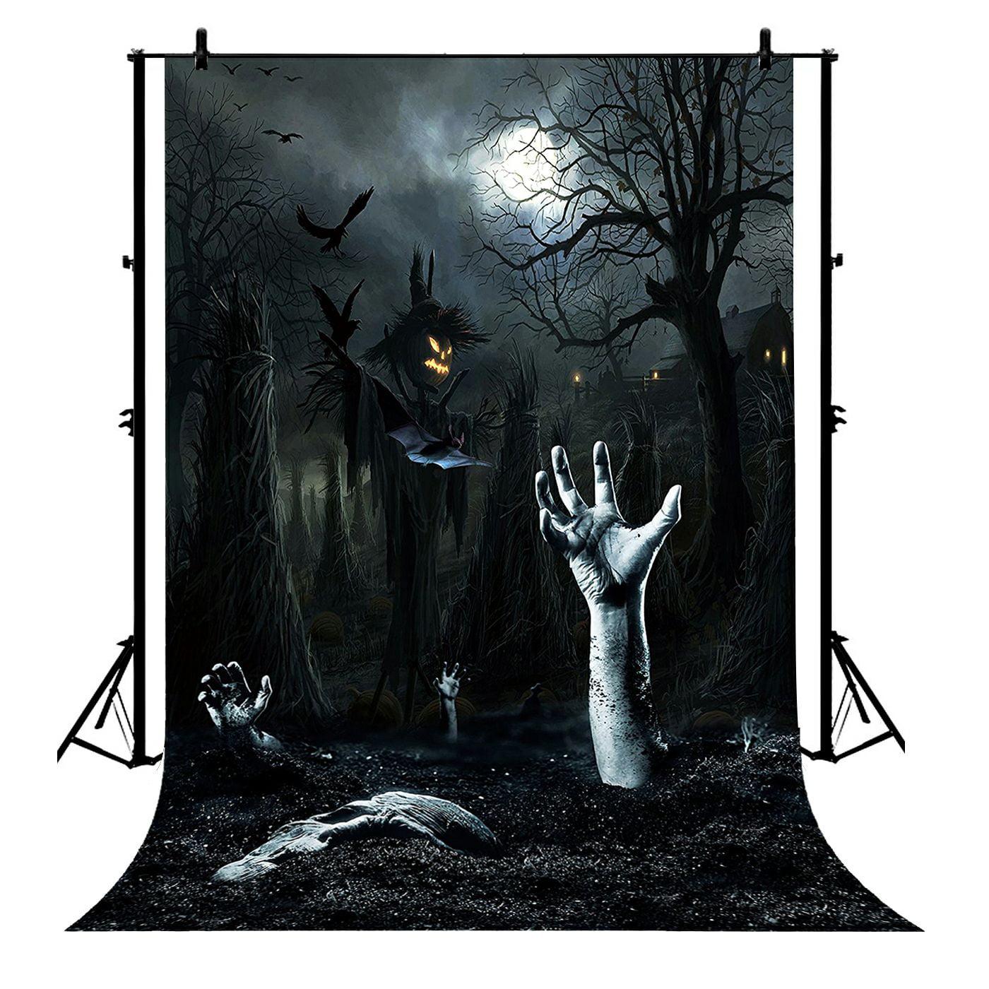 GCKG 7x5ft Halloween Horror Cemeterys Polyester Photography Backdrop Photo Background Studio Props - image 4 de 4