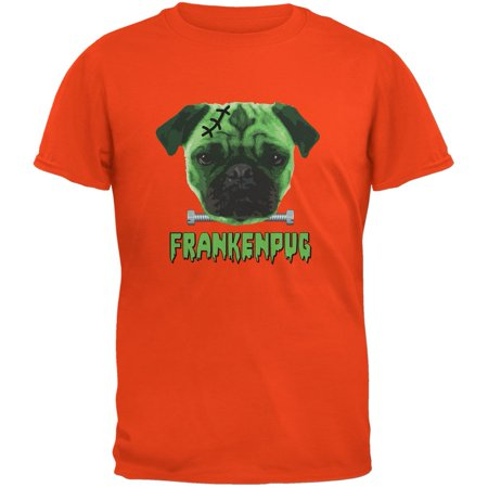 Halloween Franken Pug Dog Orange Youth T-Shirt](Halloween T Shirts For Dogs)