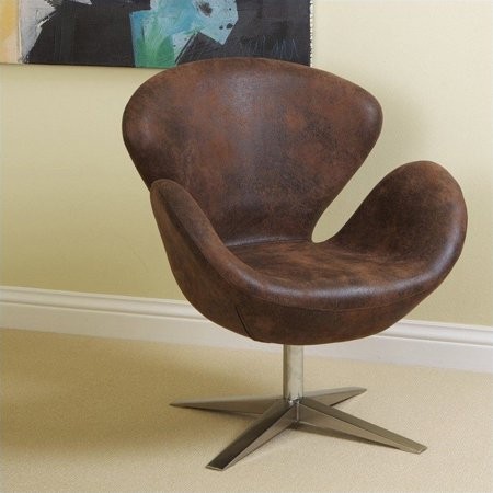 Trent Home Liza Modern Petal Leather Chair In Brown