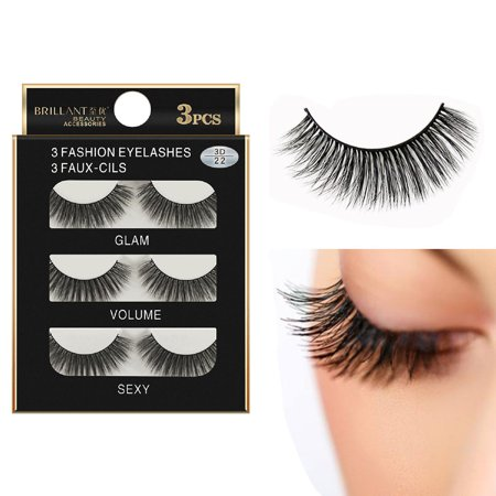 Outtop 3 Pairs 3D Long False Eyelashes Makeup Natural Fake Thick Black Eye Lashes