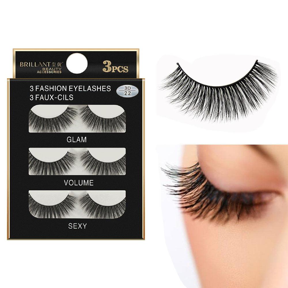 Outtop 3 Pairs 3D Long False Eyelashes Makeup Natural Fake Thick Black Eye Lashes