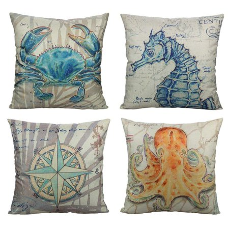 Wendana Beach Coastal Throw Pillow Covers Cases Outdoor Nautical Décor Ocean Sea Theme Decorative Cushion 18X18 Set of 4 Marine Animals for Couch Patio Sofa Bed,Crab Seahorse Compass Octopus ()