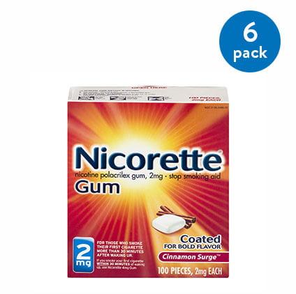 (6 Pack) Nicorette Nicotine Gum, Stop Smoking Aid, 2 mg, Cinnamon Surge Flavor, 100 count
