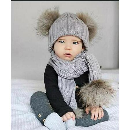 91bbe82b123 2 pieces baby infant baby fur Pom Pom ball knit thick warm beanie hat ski  hat + scarf headgear - Walmart.com