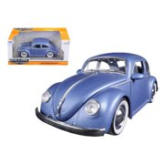 1959 Volkswagen Beetle Satin Metallic Matt Blue with Baby Moon Wheels 1/24 Diecast Model Car by Jada 97420