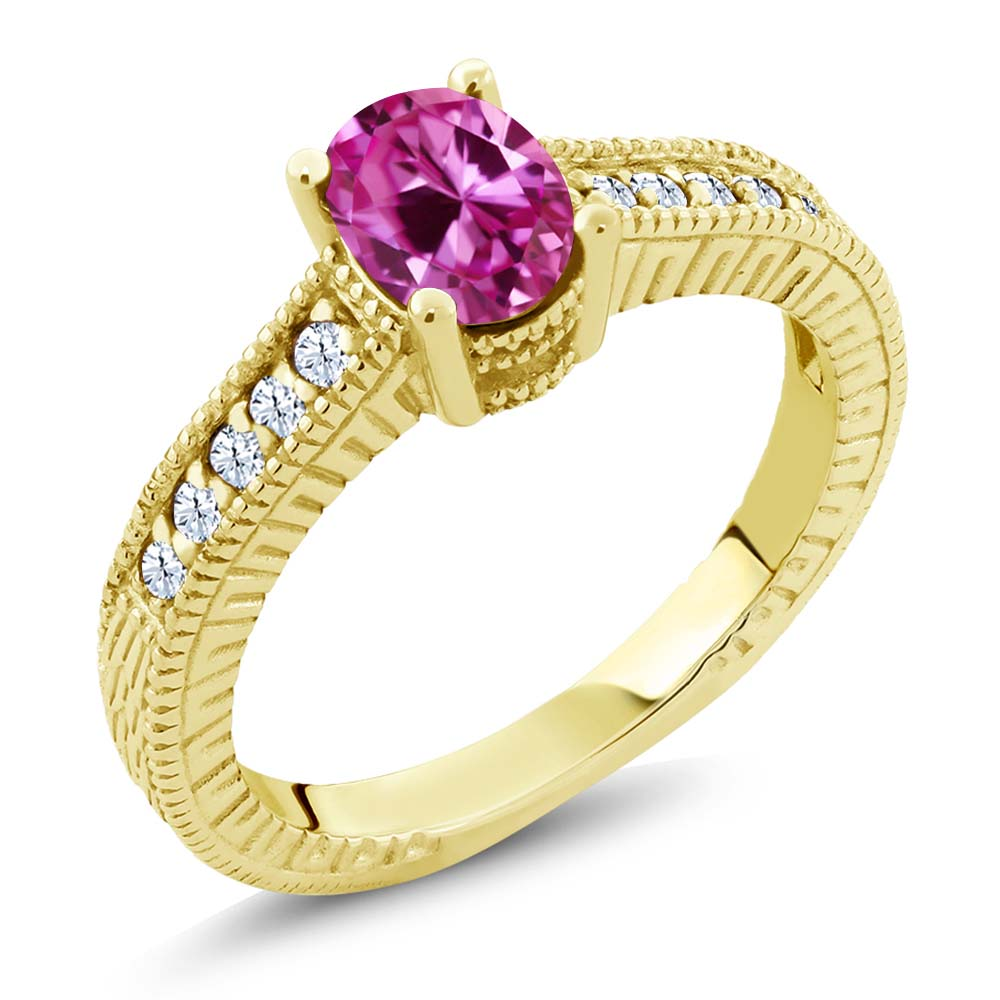 1.30 Ct Pink Created Sapphire 18K Yellow Gold Plated Silver Engagement Ring by