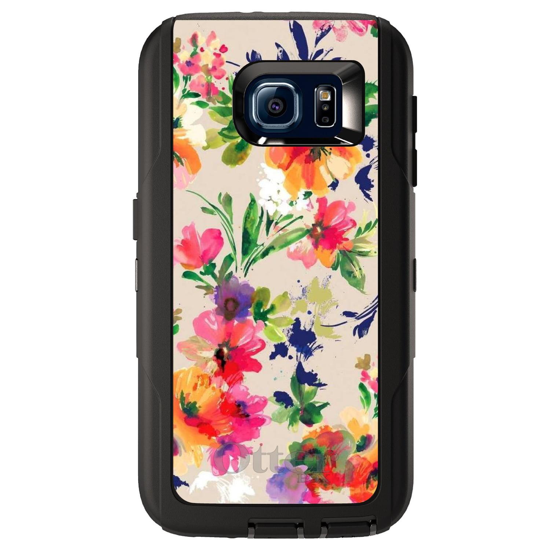 DistinctInk™ Custom Black OtterBox Defender Series Case for Samsung Galaxy S6 - Pink Purple Floral Flowers