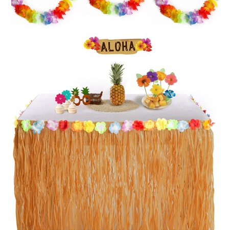 Hawaiian Grass (TABLE Skirt Grass w/Hibiscus Flower Wedding Beach Hawaiian Luau Hawaiian Grass Table Skirt Decorations - Hula Hibiscus Tropical Birthday Summer Pool Party)